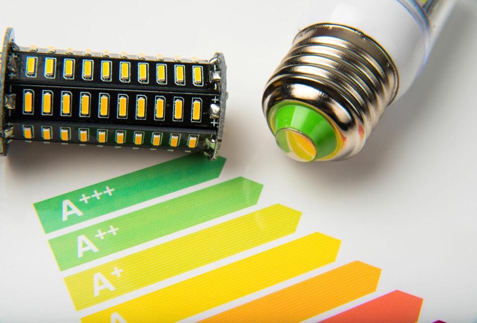 SNART SLUTT FOR A+++: Belysningsprodukter er en av prodktgruppene som vil få den nye energimerkeskalaen først. Med den nye skalaen skal man bort fra alle plussene og gjeninnføre den gamla skalaen fra A til G. Foto: Shutterstock/NTB scanpix