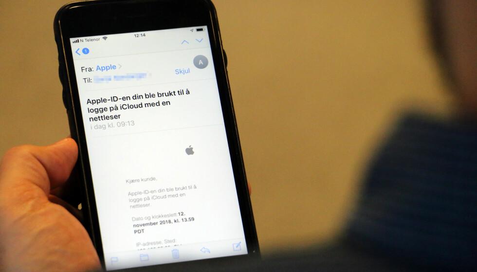SVÆRT LIK: Det er lite som skiller denne falske svindel-eposten fra den Apple sender ut når du har logget på iCloud med en ny enhet. Foto: Pål Joakim Pollen