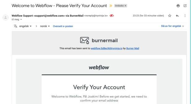 E-poster som blir vidersendt fra Burner mail får et grått felt i toppen som angir hvilken adresse e-posten ble sendt til opprinnelig.