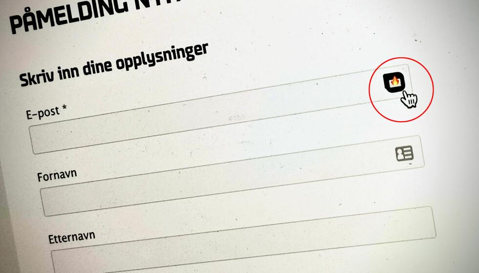SMART LØSNING: Trykker du på Burner mail-ikonet, genereres en e-postadresse slik at du slipper å dele din egen. Foto: Pål Joakim Pollen