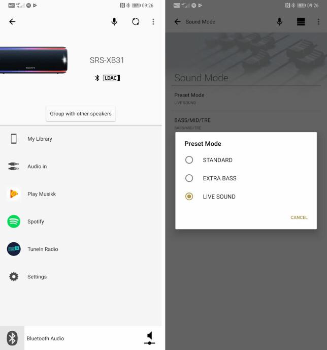 Via den tilhørende appen (Android og iOS) kan du blant annet styre lyden og type discolys. Skjermbilde: Pål Joakim Pollen