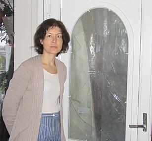 KNUST VERANDADØR: Kristin forteller at tyvene kom seg inn ved å knuse verandadøra. Foto: Privat