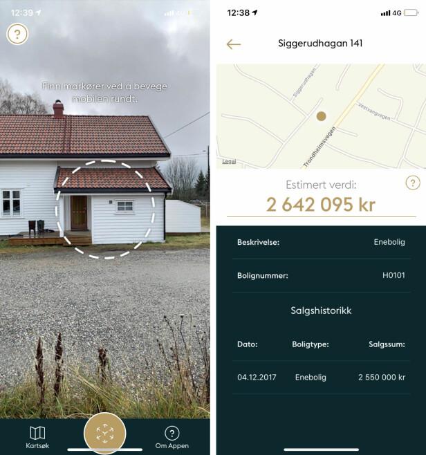 AVVIK: Dette huset på Eidsvoll er til salgs, men prisen i appen er cirka 460.000 kroner lavere enn prisantydning i boligannonsen. Foto: skjermdump.