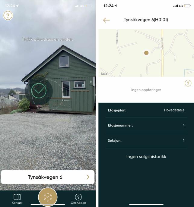 FINNER IKKE: Denne eneboligen fant ikke appen fram til noe estimat på, men en prisantydning finnes i salgsannonsen på Finn.no. Foto: skjermdump.