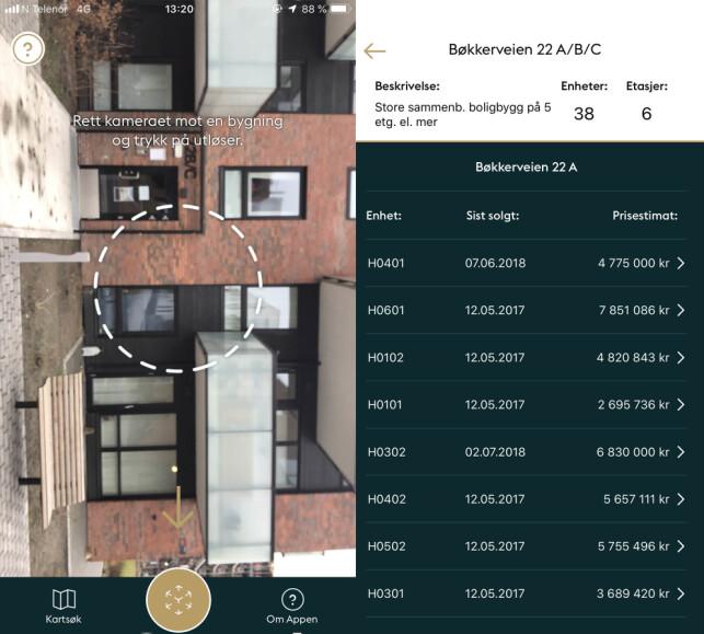 PRISLISTE: I denne blokka på Løren er det en leilighet som ligger ute til salgs, men det ble oppgitt prisestimat på flere leiligheter, hvor den nest nederste ligger nærmest i pris. Foto: skjermdump.