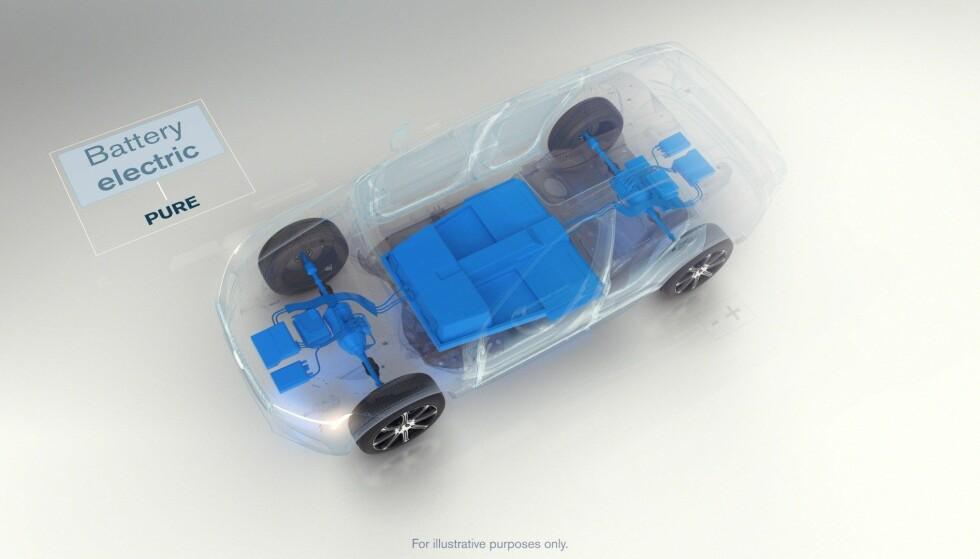 PLATTFORMEN: Slik ser det elektriske drivverket i Volvo XC40 ut. Det har mulighet for to elektriske motorer – en foran og en bak – noe som vil gir firehjulstrekk.