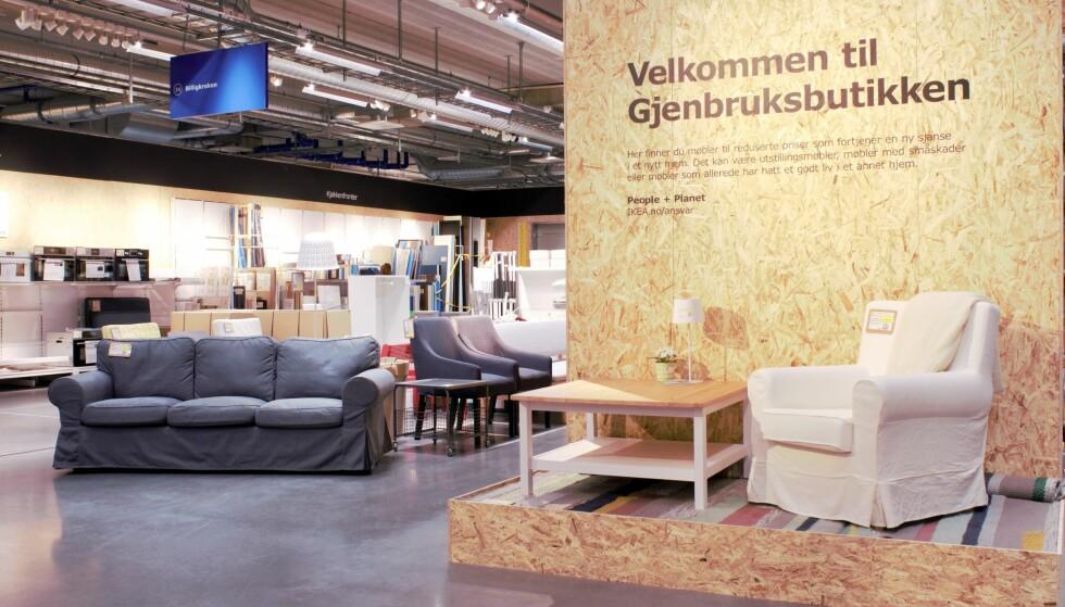 IKEA VIL SELGE DINE BRUKTE IKEA-MØBLER: Først ut er Ikeas varehus på Ringsaker. Det er et prøveprosjekt, med mål om å tilby dette på alle varehusene i Norge innen 2020. Foto: Ikea