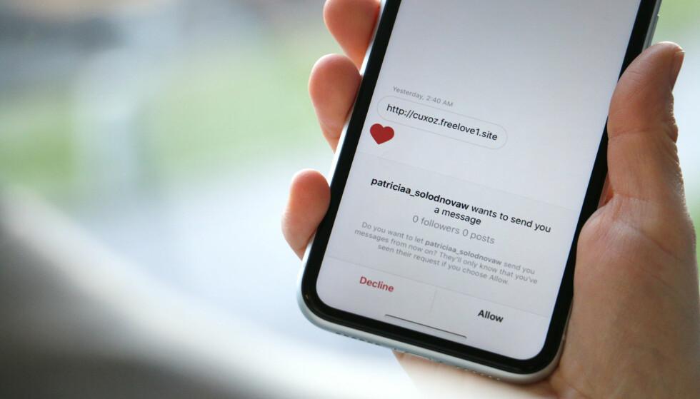TAR KONTAKT: Svindlere tar blant annet kontakt på Tinder og Instagram, før de forsøker å flytte samtalen over på e-post. Foto: Kirsti Østvang