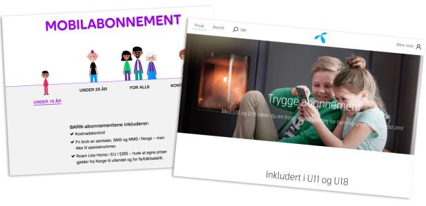 Både Telia og Telenor har egne abonnementer tilpasset barn, der det på forhånd er lagt inn en del sperrer for å unngå høye mobilregninger. Montasje: Pål Joakim Pollen