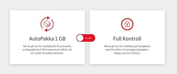 Hos Onecall kan du velge om du vil at hastigheten skal reduseres når du har brukt opp medfølgende data, eller om du vil at mobildataen kjører på autopilot. Sistnevnte er neppe så smart på et barneabonnement. Skjermbilde: Pål Joakim Pollen