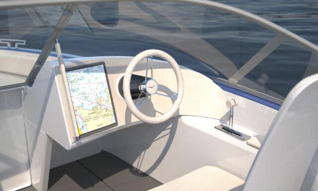 ENKEL KONSOLL: Skjermen med kartplotteren ligner også på det vi finner i en Tesla. Foto: Candela Speed Boat