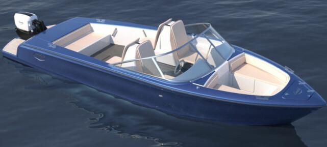 RETRO-DESIGN: Foliene som styres elektrisk, kan felles inn. Dermed er det enkelt å komme inn på grunt vann. Foto: Candela Speed Boat