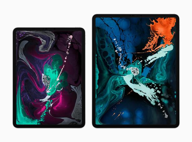 TO UTGAVER: iPad Pro 2018-utgaven kommer i en 11- og en 12,9-tommerversjon. Foto: Apple