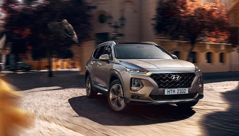 IMPONERENDE: Nødbrems-systemet i Hyundai Santa Fe klarte å stoppe bilen fra 85 km/t, mens elektriske Jaguar i-Pace bare klarte 15 km/t. Foto: Hyundai