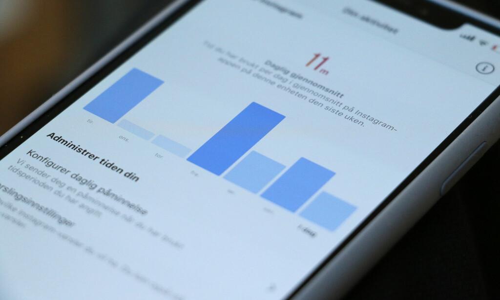 AKTIVITETS-DASHBORD: Nå kan du se hvor mye tid du bruker i Instagram om dagen. Foto: Kirsti Østvang