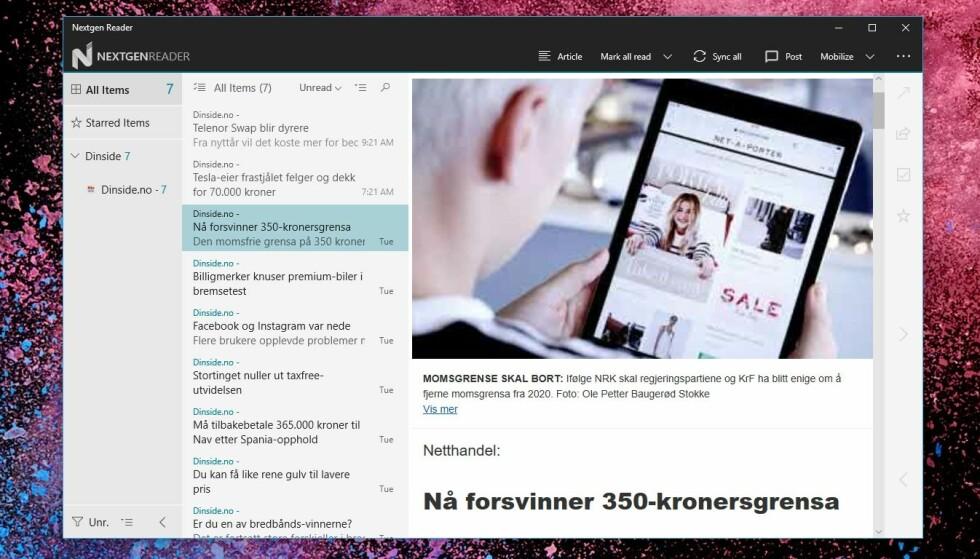 NextGen Reader er en enkel og oversiktlig nyhetsapp.