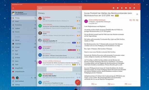 Wundermail er en lekker og innholdsrik Gmail-app for Windows 10.