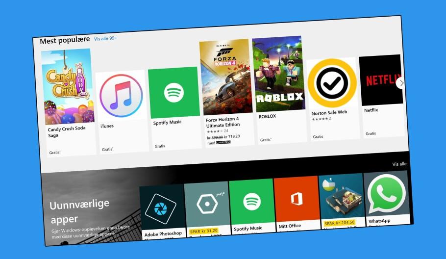 MICROSOFT STORE: Det er ikke kanskje den mest omfattende appbutikken, men Microsoft Store har flere interessante verktøy. Foto: Skjermdump