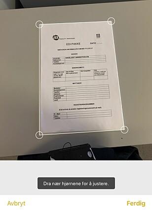 TILPASS DOKUMENTET: Etter at du har skannet inn et dokument i Notater-appen, kan du justere hjørnene, slik at hele dokumentet får plass. Skjermbilde: Kirsti Østvang
