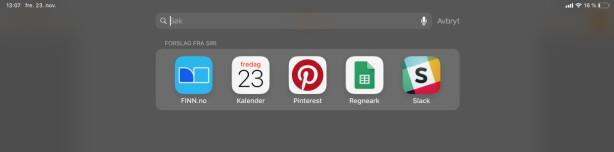 <strong>SØK I SPOTLIGHT:</strong> Vil du søke etter noe på iPad-en din, kan Spotlight hjelpe deg. Bruk tastatursnarveien i stedet for å først gå tilbake til hjemskjermen, og så sveipe ned. Skjermbilde: Kirsti Østvang