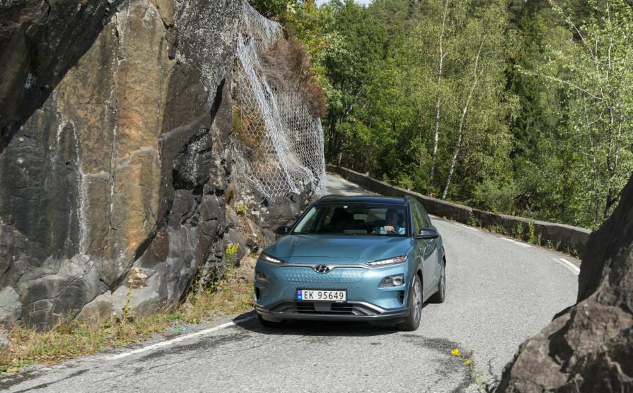 NEDJUSTERES: Også Hyundai Kona får nedjustert rekkevidde – fra 482 til 449 kilometer. Foto: Jamieson Pothecary