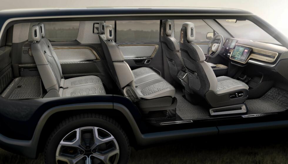 GOD PLASS: Hele sju personer skal få plass i den nye SUV-en fra Rivian. Foto: Rivian