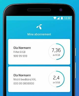 HOLDER OVERSIKT: De fleste mobiloperatører har egne apper som lar deg følge med på databruken. Skjermbilde: Telenor