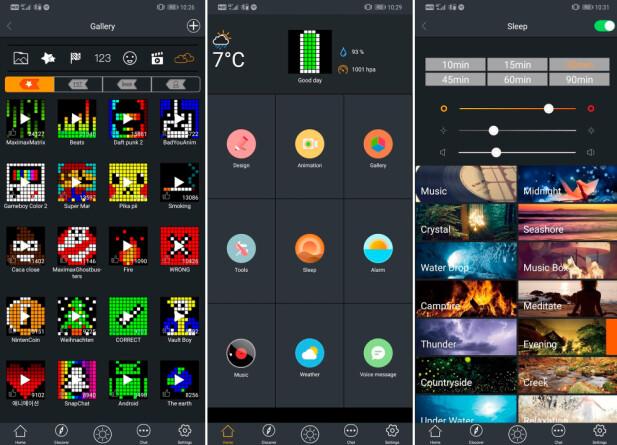 MANGE MULIGHETER: I appen kan du velge blant en haug av bilder som vises på skjermen eller lage egne. Timebox mini har også vekkerklokke- og innsovningsfunksjon. Skjermbilder: Pål Joakim Pollen