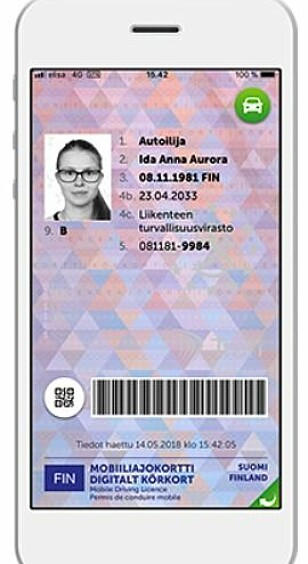 Slik vil et finsk førerkort se ut på mobiltelefonen. Foto: Trafi.fi