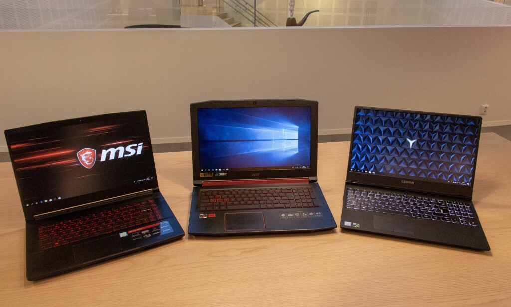 Fra venstre: MSI GF63, Acer Nitro 5 og Lenovo Y530-15. Foto: Martin Kynningsrud Størbu.