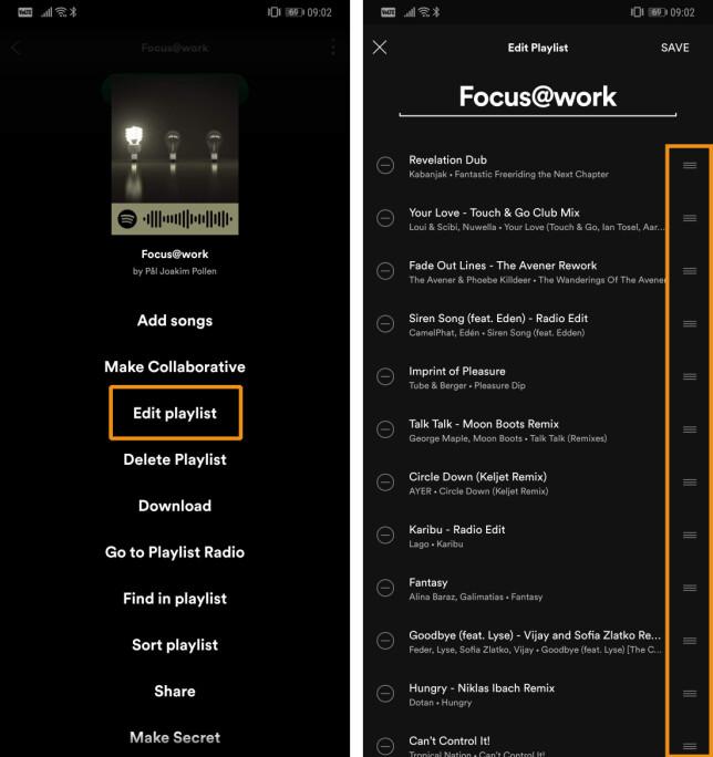 Ikke før i sommer ble det mulig å endre rekkefølgen på sangene i ei Spotify-spilleliste på Android. Skjermbilde: Pål Joakim Pollen