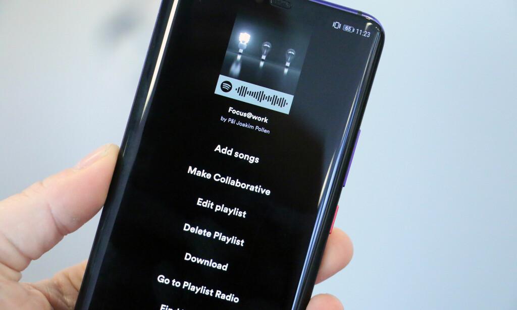 ENDELIG: Ikke før i sommer ble det mulig for Android-brukere å endre rekkefølgen på sanger i ei Spotify-spilleliste. Foto: Pål Joakim Pollen