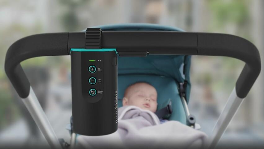 EN HJELPENDE HÅND: Norskutviklede Sleepytroll er en sensorstyrt vugger du kan henge på styret av vogna. Foto: Produsent