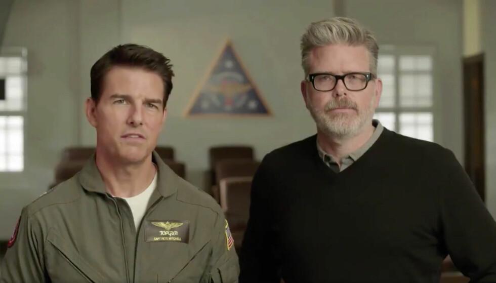 BER DEG FIKSE TV-EN: Tom Cruise og regissør Christopher McQuarrie oppfordrer deg til å slå av enkelte innstillinger på TV-en din før du ser den nye Mission: Impossible-filmen. Foto: Skjermdump