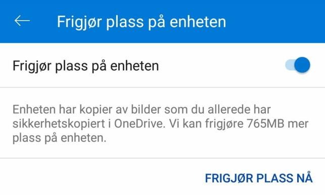 I OneDrive-appen til Android kan du velge å fjerne lokalt innhold som er blitt sikkerhetskopiert. Kjekt hvis man har en PC med liten lagringsplass.