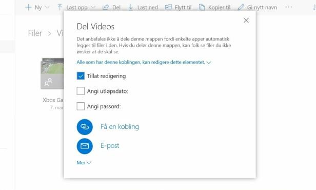 Slik deler du mapper og filer med andre via OneDrive i nettleseren.