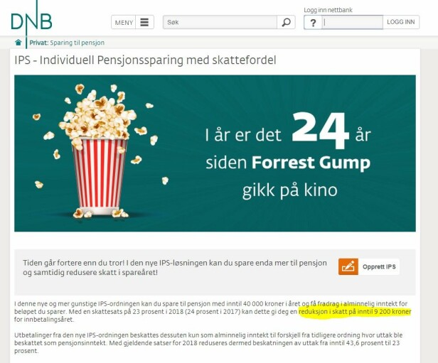 REKLAMEEKSEMPEL: Slik ser DNBs IPS-reklame ut. Det understrekes at sparebeløpet og skatteutsettelsen er oppgitt som maksbeløp. Foto: skjermdump.