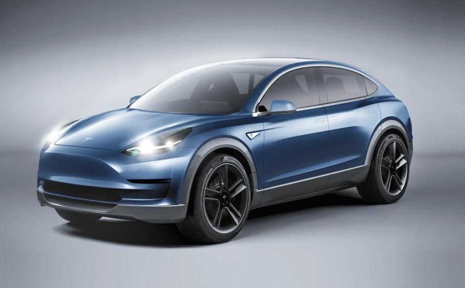 SNART I PRODUKSJON? Model Y er etter alt å dømme neste bil fra Tesla, etter at «folkeelbilen» Model 3 snart vil rulle på norske veier. Illustrasjon: Autocar