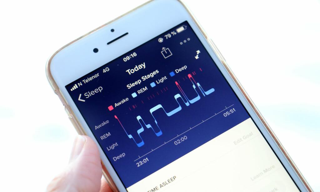 SØVN: Vi synes det er vanskelig å konkludere med hvor godt søvnregistreringen fungerer, men det virker som om den får med seg hovedtrekkene i alle fall - selv om søvnstadiene er vanskeligere å vurdere. Foto: Kristin Sørdal