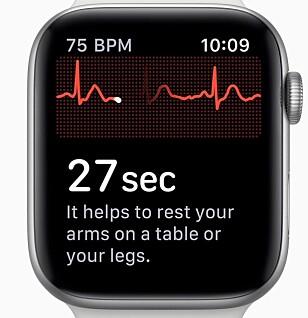 EKG: Apple Watch-brukere i USA har nå mulighet til å foreta en EKG-undersøkelse direkte på håndleddet. Foto: Apple