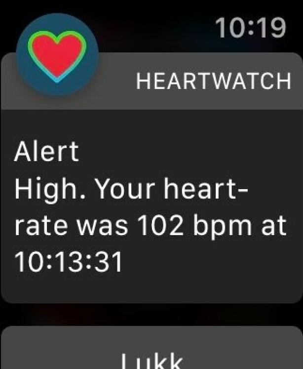 HeartWatch kan blant annet varsle deg når pulsen din blir for høy. Skjermbilde: Kirsti Østvang