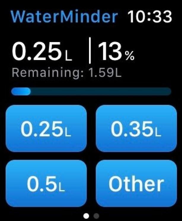 WaterMinder kan hjelpe deg å bli flinkere å drikke mer vann. Skjermbilde: Kirsti Østvang