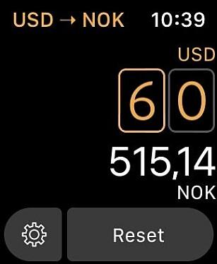 Elk gjør det usedvanlig lett å konvertere valuta på Apple Watch. Skjermbilde: Kirsti Østvang