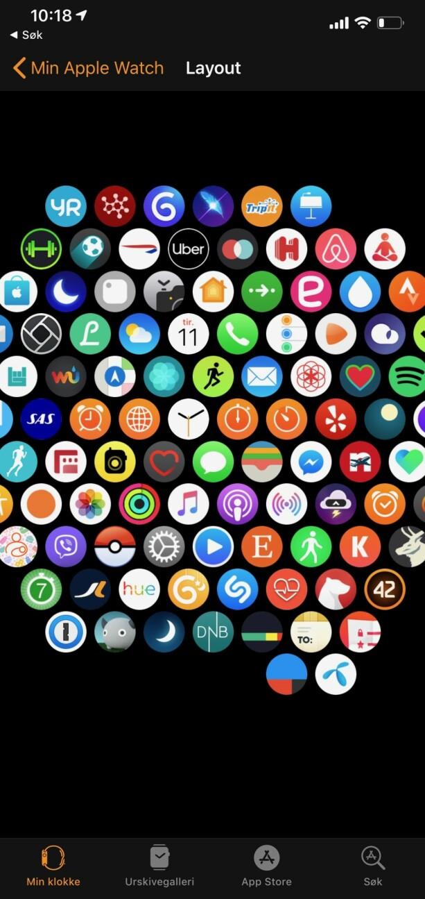 TILPASS LAYOUTEN: Du kan organisere applayouten på iPhone. Det er mulig å gjøre det på klokka også, men vi synes det er enklere herfra. Skjermbilde: Kirsti Østvang