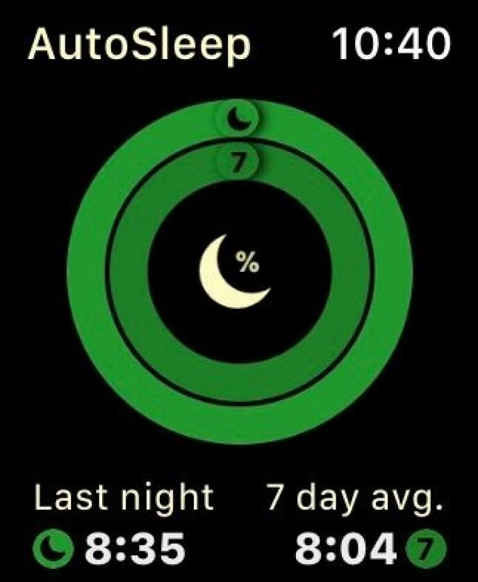 Med AutoSleep kan du se hvor mye du sov i natt, og hva som er gjennomsnittet for den siste uka. Skjermbilde: Kirsti Østvang