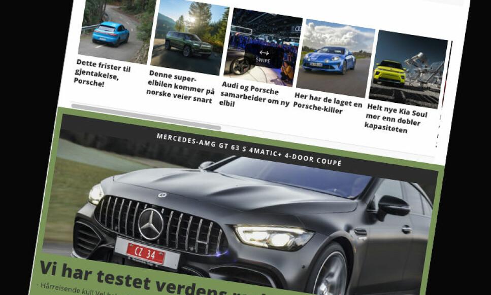 HEFTIG SATSING: Dinside Motor har trappet opp satsingen, med blant annet ny spennende forside. Det har gitt raske resultater: Skjermdump: www.dinside.no/motor