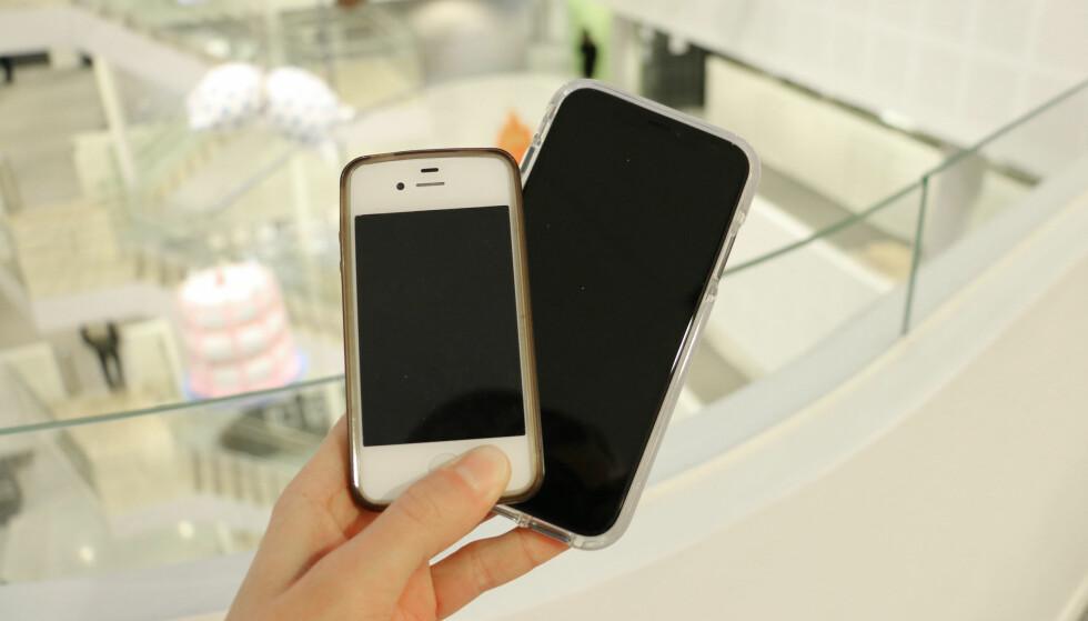 TO VERDENER: Etter seks år med iPhone 4s er det et stort steg å begynne å bruke iPhone XR. Foto: Eilin Lindvoll.