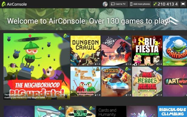 MANGE SPILL: Airconsole byr på over 130 spill som kan spilles med mobiltelefonen som håndkontroller. Skjermbilde: Pål Joakim Pollen