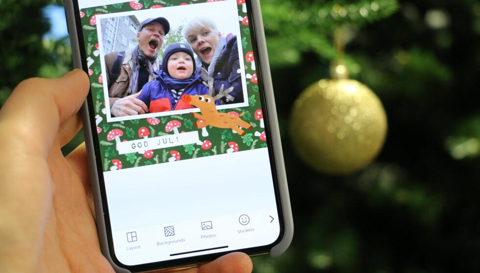 JULEKORT I SISTE LITEN: Det har blitt enkelt å lage fine julekort selv med mobilen. Foto: Kirsti Østvang
