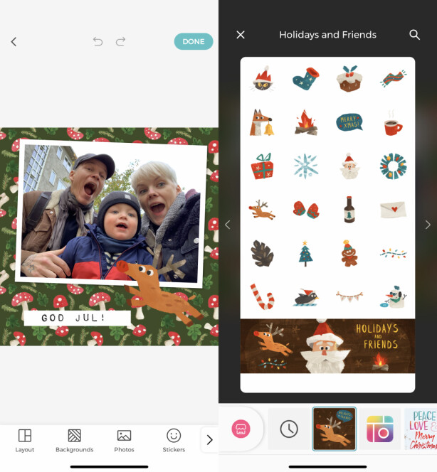 <strong>FIN JULEGRAFIKK:</strong> I Pic Collage kan du laste ned både bakgrunner og klistremerker med juletema, og så bruke dem til å lage fine julekort. Skjermbilde: Kirsti Østvang